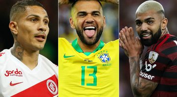 None - Paolo Guerrro, Daniel Alves e Gabigol (Crédito: Getty Images)