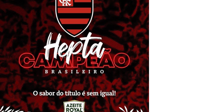 Post do Flamengo, no Instagram, comemorando o Hepta