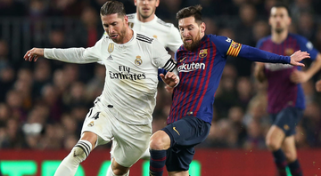 Sergio Ramos e Messi atuando por Real Madrid e Barcelona - GettyImages
