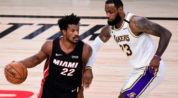 LeBron James destaca atuação de Jimmy Butler na vitória do Heat sobre os Lakers - GettyImages